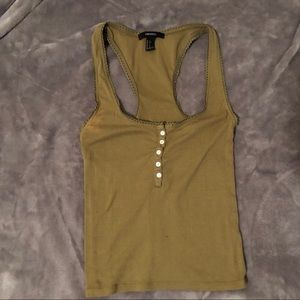 olive green scalloped tank top